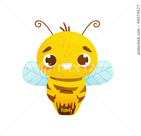 Cute bee in cartoon style. Vector illustration. 49874877