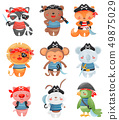 Animal pirates characters in cartoon style. Set of cute funny little pirates vector illustration. 49875029