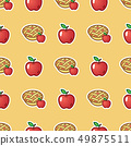 Apple pie on red pattern background. Sweet and tasty baked fruit pie from red apples seamless 49875511