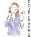 ผู้หญิงที่แปรงฟัน 49876699