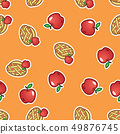 Apple pie pattern background. Sweet and tasty baked fruit pie from red apples seamless pattern. 49876745