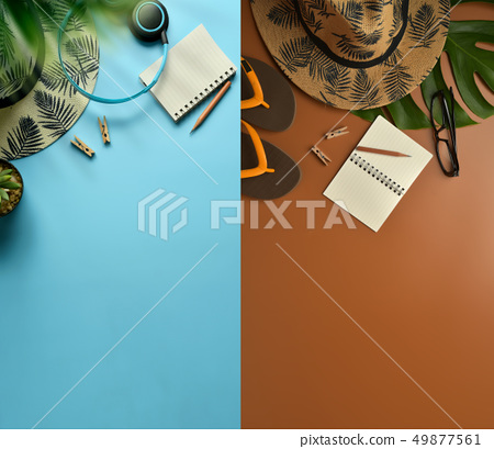 Flat lay, top view workspace with eye glasses, 49877561