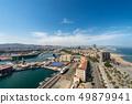 Aerial view of Barcelona Spain - Barceloneta beach 49879941