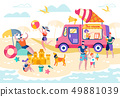Food on Beach or Open Pond Vector Illustration. 49881039