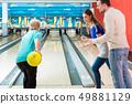 Mature woman bowling 49881129