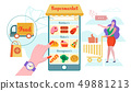 Online Supermarket, Home Delivery Flat Vector. 49881213