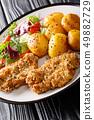 Fried pork steak in sesame breaded with new 49882729