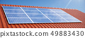 3D illustration solar panels on a red roof of a house. Solar panels with reflection beautiful blue 49883430