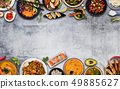 Top view composition of various Asian food in 49885627