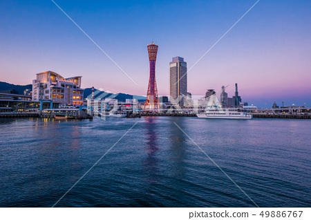 Port of Kobe skyline before sunset, Kansai, Japan 49886767