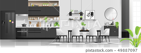 Modern kitchen and dining room background 49887097