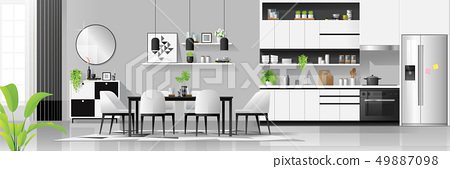Modern kitchen and dining room background 49887098