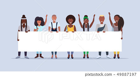 happy men women standing together holding empty placard sign board demonstration concept smiling 49887197