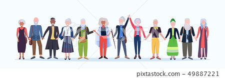 casual mature men women standing together smiling senior gray haired mix race people wearing trendy 49887221