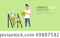 man watering potted plants on rack guy holding sprinkling can doing housework concept male cartoon 49887582