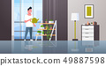 man watering potted plants on rack smiling guy holding sprinkling can doing housework concept modern 49887598