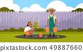 couple farmers planting young tree african american man holding water buckets woman digging soil 49887660