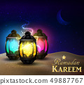 lanterns stand in the desert at night sky 49887767