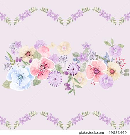 美麗的水彩花和牡丹花 49888449