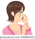 Shocked Woman Trembling With Smartphone 49888483