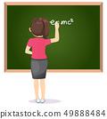Female Teacher Writing Greenboard 49888484