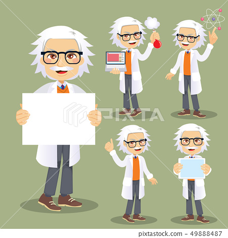 Funny senior male scientist character 49888487
