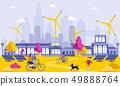 Green Energy in Big City Cartoon Illustration. 49888764