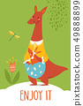 Cute vector enjoy it card with wild kangaroo and baby 49888899