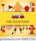 Fire department banner vector illustration. Firefighting equipment and tools firehose hydrant, alarm 49891795