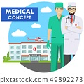 Medical concept. Detailed illustration of emergency doctor man in uniform on background with 49892273