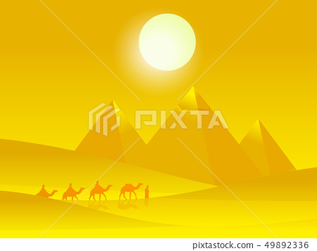 Caravan of camels with people in the hot desert\ 49892336