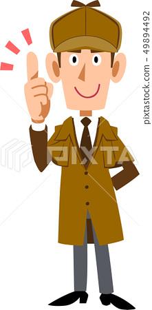 Detective man making a forefinger 49894492