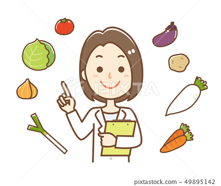 Nutritionist Vegetable Pointing Upper Body 49895142