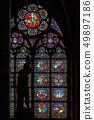 Stained glass window in Notre dame de Paris 49897186