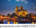 Notre Dame de Paris at night 49897205
