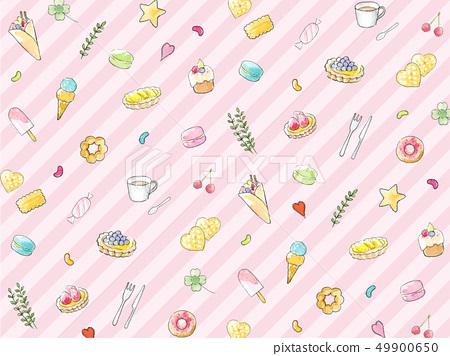 手拉的水彩例證背景紋理甜桃紅色條紋 49900650