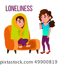 Loneliness Cartoon Vector Poster Template With Text 49900819