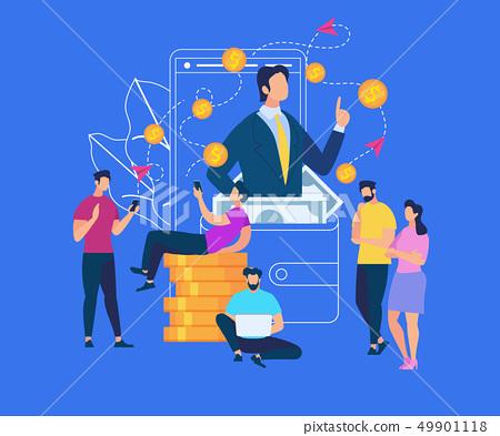 Businessman Speak at Huge Purse with Banknotes 49901118
