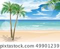 ทะเลสีฟ้าและต้นปาล์ม 49901239