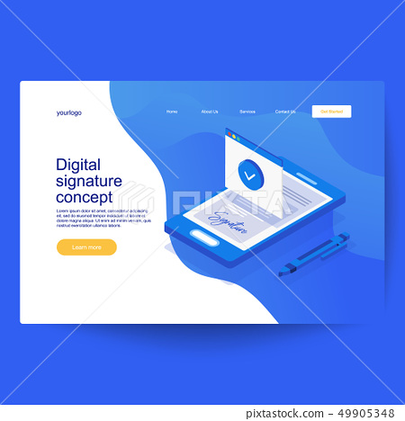 Digital smart contract isometric composition 49905348