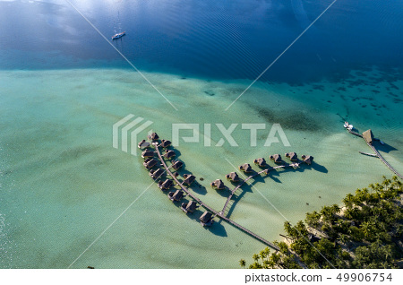 Taha overwater bungalows aerial landscape french 49906754