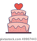 Wedding cake with heart cartoon blue lines 49907443