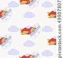 cartoon air plane vector seamless pattern 49907807