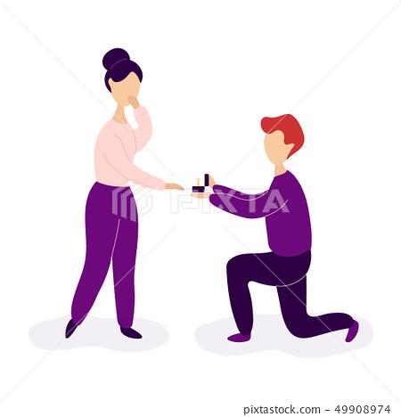 Boyfriend making marriage proposal to girlfriend 49908974