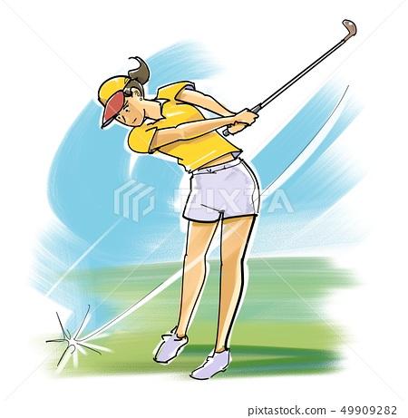 Female golfer-blow shot 49909282