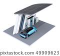 在配備太陽能電池板的氫站中自燃FCV填充氫氣的圖像 49909623
