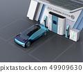 솔라 패널이 가지고있는 수소 스테이션에 수소 가스를 충전하는 자동 운전 FCV의 이미지 49909630