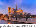 Cathedral of Notre Dame de Paris at night, France 49913416