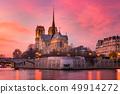 Cathedral of Notre Dame de Paris at sunset, France 49914272