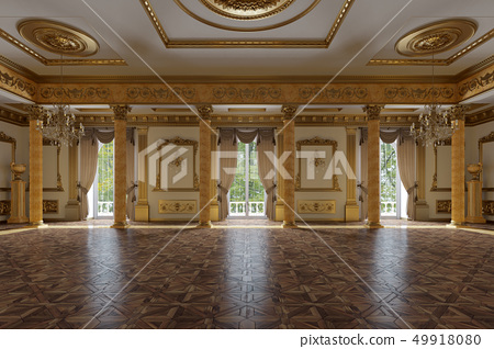 The ballroom and restaurant in classic style 49918080